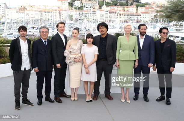 Actors Devon Bostick Byung Heebong Paul Dano Lily Collins Ahn SeoHyun director Bong JoonHo Tilda Swinton Jake Gyllenhaal and Steven Yeun attend the...