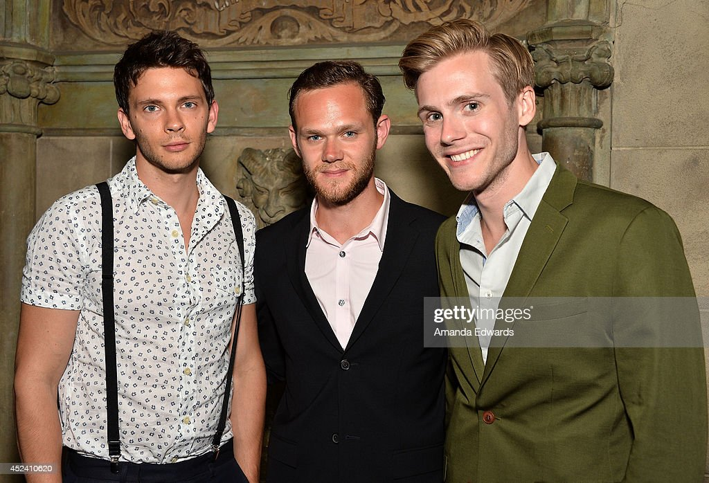 Actors Devon Graye, Joseph Cross and Zachary Booth arrive at the Water's End Productions and Gran Via Productions Film 'Last Weekend' cast dinner at Chateau Marmont on July 19, 2014 in Los Angeles, California.
