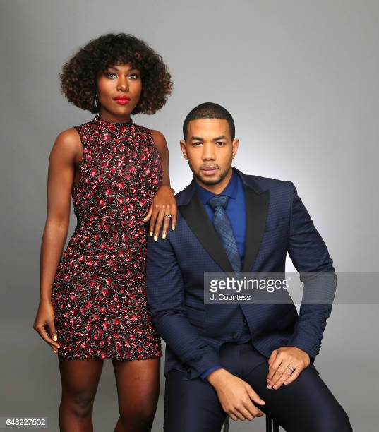 Actors DeWanda Wise and Alano Miller pose for a portrait for BET's 2017 American Black Film Festival Honors Awards at The Beverly Hilton Hotel on...