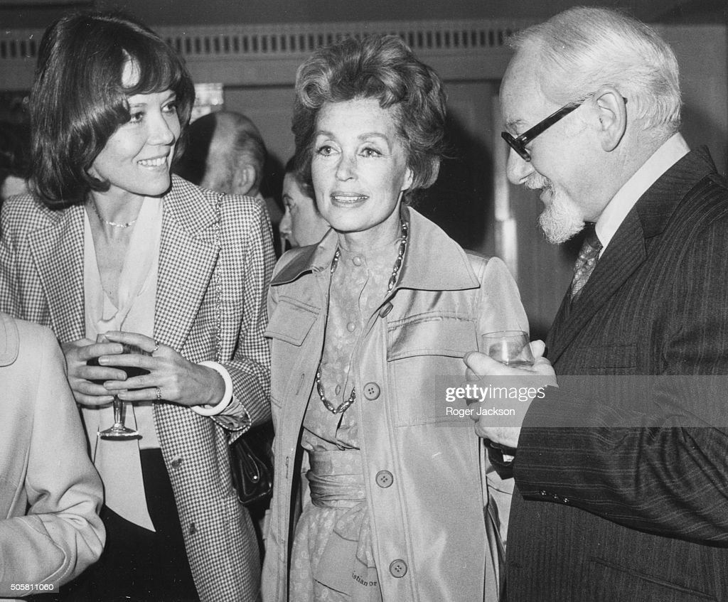 Actors Diana Rigg Lilli Palmer and David Kossoff chatting as they attend a Foyles Literary Luncheon marking the publication of Lilli Palmer's...