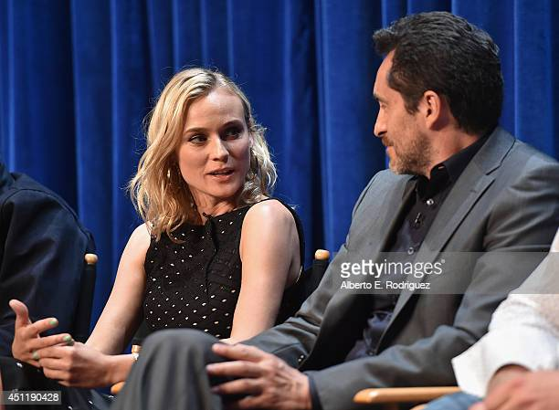 Actors Diane Kruger and Demian Bichir attend The Paley Center For Media Presents FX's 'The Bridge' at The Paley Center for Media on June 24 2014 in...