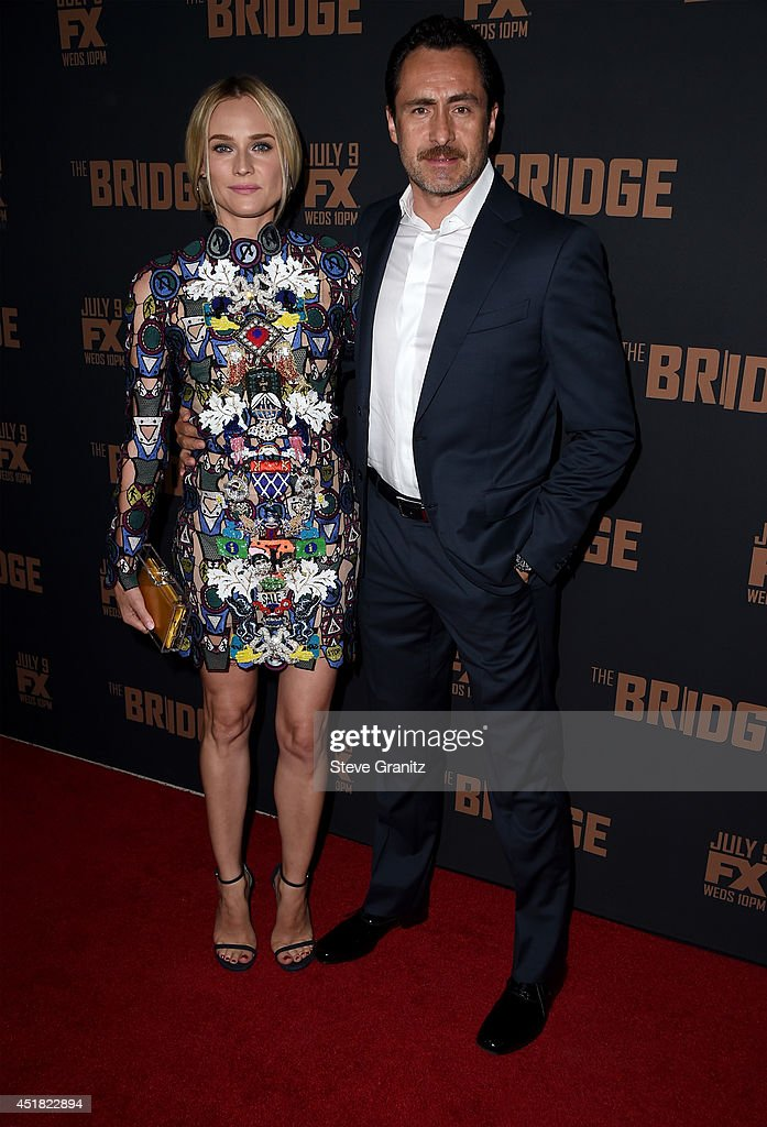 Actors Diane Kruger and Demian Bichir attend the premiere of FX's 'The Bridge' at Pacific Design Center on July 7, 2014 in West Hollywood, California.