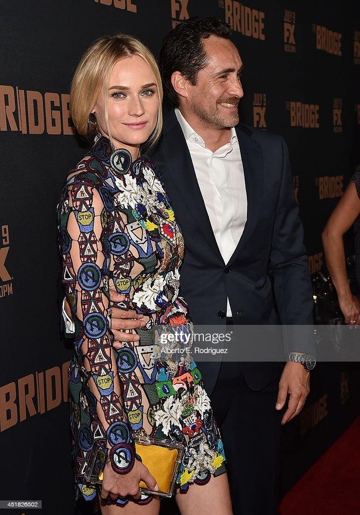 Actors Diane Kruger (L) and Demian Bichir attend the premiere of FX's 'The Bridge' at Pacific Design Center on July 7, 2014 in West Hollywood, California.