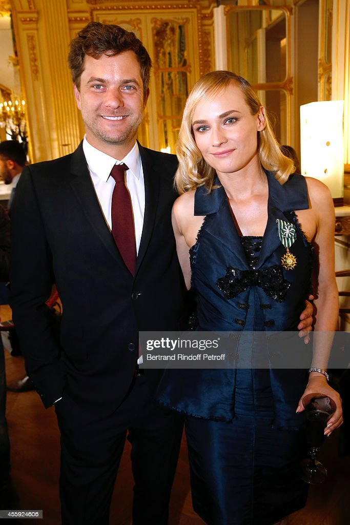Actors Diane Kruger and her companion Joshua Jackson pose after Diane Kruger received the insignia of Officer of the Order of Arts and Letters at Ministere Of Culture in Paris at on September 22, 2014 in Paris, France.