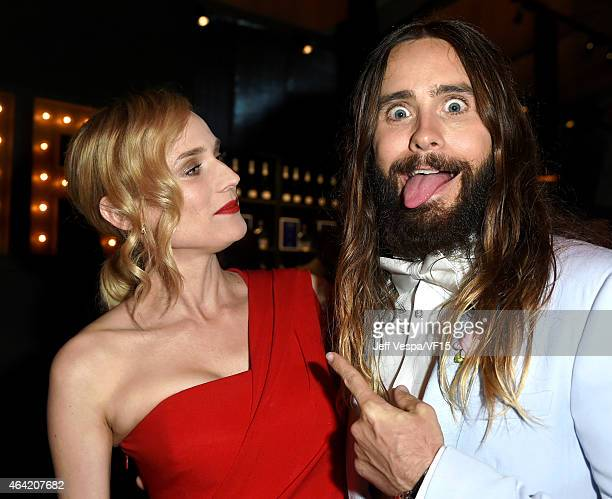 Actors Diane Kruger and Jared Leto attend the 2015 Vanity Fair Oscar Party hosted by Graydon Carter at the Wallis Annenberg Center for the Performing...