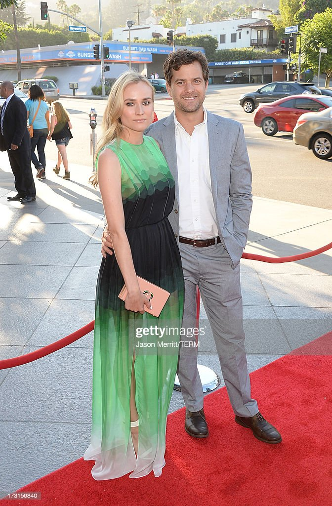 Actors <a gi-track='captionPersonalityLinkClicked' href=/galleries/search?phrase=Diane+Kruger&family=editorial&specificpeople=202640 ng-click='$event.stopPropagation()'>Diane Kruger</a> and <a gi-track='captionPersonalityLinkClicked' href=/galleries/search?phrase=Joshua+Jackson+-+Actor&family=editorial&specificpeople=208160 ng-click='$event.stopPropagation()'>Joshua Jackson</a> arrive at the series premiere of FX's 'The Bridge' at the DGA Theater on July 8, 2013 in Los Angeles, California.