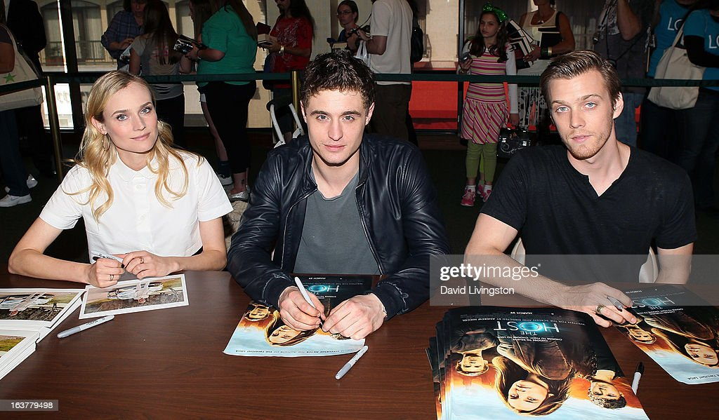 Actors Diane Kruger, Max Irons and Jake Abel attend a signing for Stephenie Meyer's book 'The Host' at Barnes & Noble bookstore at The Grove on March 15, 2013 in Los Angeles, California.
