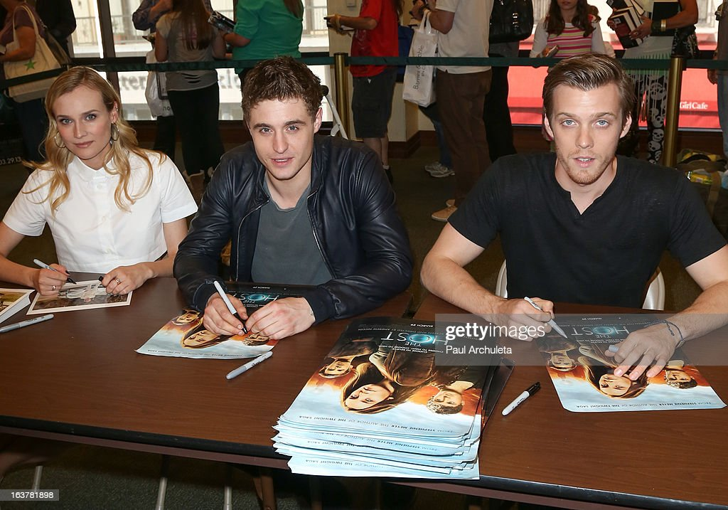 Actors Diane Kruger, Max Irons and Jake Abel sign copies of 'The Host' at Barnes & Noble bookstore at The Grove on March 15, 2013 in Los Angeles, California.