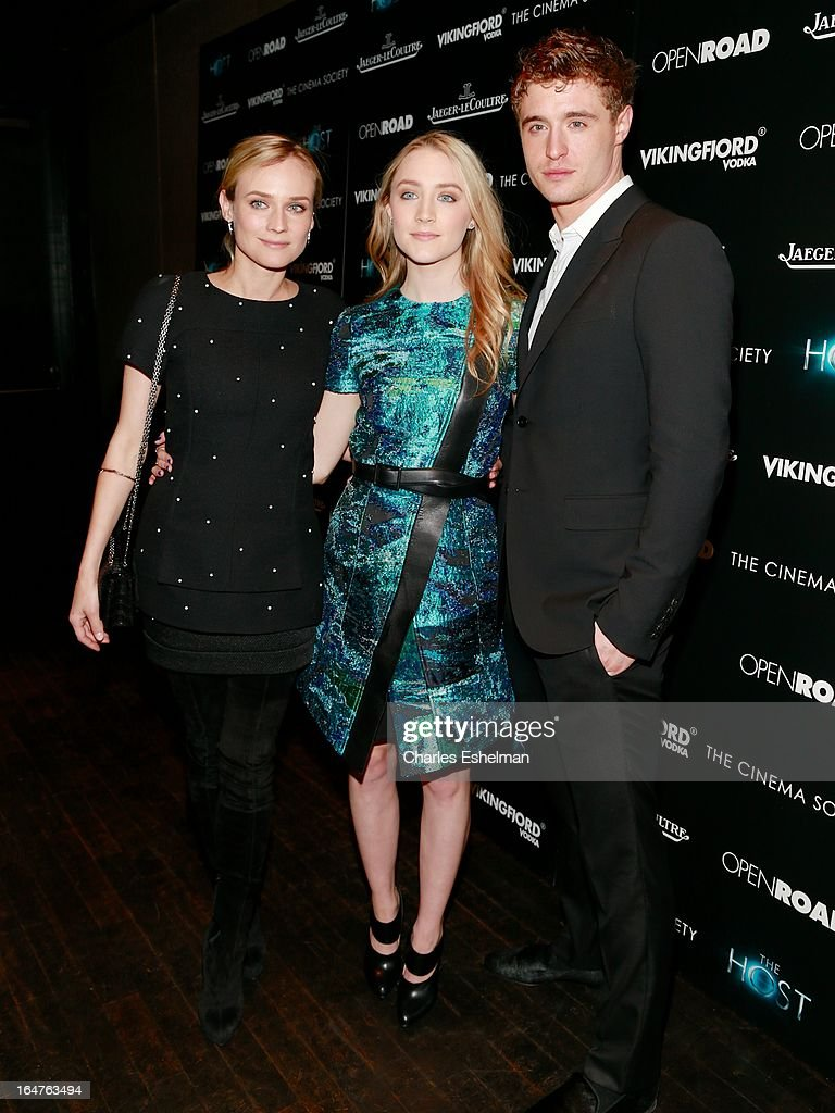Actors Diane Kruger, Saoirse Ronan and Max Irons attend The Cinema Society & Jaeger-LeCoultre Host A Screening Of Open Road Films' 'The Host' at the Tribeca Grand Hotel - Screening Room on March 27, 2013 in New York City.