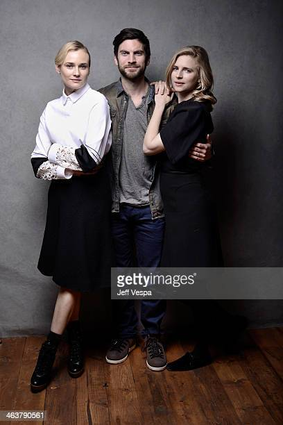 Actors Diane Kruger Wes Bentley and Brit Marling pose for a portrait during the 2014 Sundance Film Festival at the WireImage Portrait Studio at the...