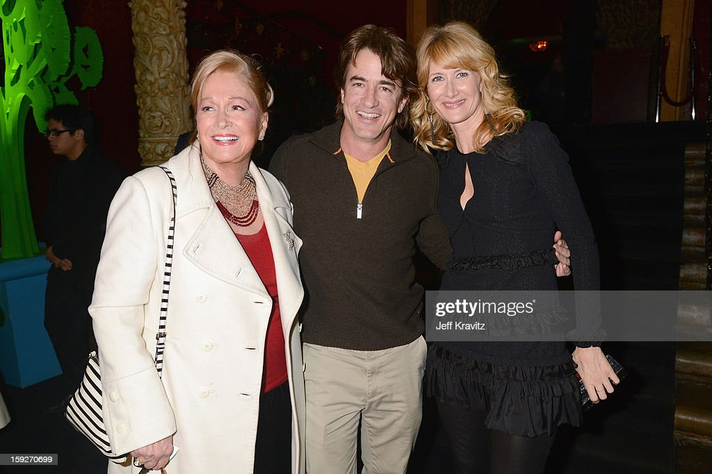 Actors <a gi-track='captionPersonalityLinkClicked' href=/galleries/search?phrase=Diane+Ladd&family=editorial&specificpeople=226819 ng-click='$event.stopPropagation()'>Diane Ladd</a>, <a gi-track='captionPersonalityLinkClicked' href=/galleries/search?phrase=Dermot+Mulroney&family=editorial&specificpeople=208776 ng-click='$event.stopPropagation()'>Dermot Mulroney</a> and <a gi-track='captionPersonalityLinkClicked' href=/galleries/search?phrase=Laura+Dern&family=editorial&specificpeople=204203 ng-click='$event.stopPropagation()'>Laura Dern</a> attend the 'Enlightened' Season 2 Premiere presented by HBO at Avalon on January 10, 2013 in Hollywood, California.