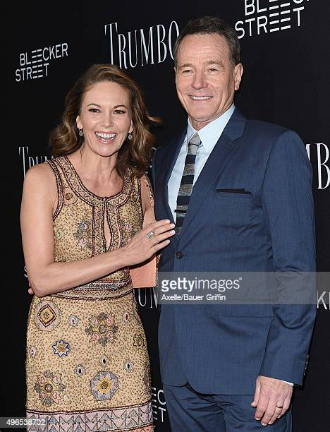 Actors Diane Lane and Bryan Cranston arrive at the premiere of Bleecker Street Media's 'Trumbo' at Samuel Goldwyn Theater on October 27 2015 in...