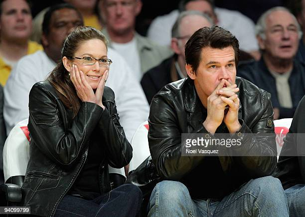 Actors Diane Lane and Josh Brolin attend a game between the Phoenix Suns and the Los Angeles Lakers at Staples Center on December 6 2009 in Los...