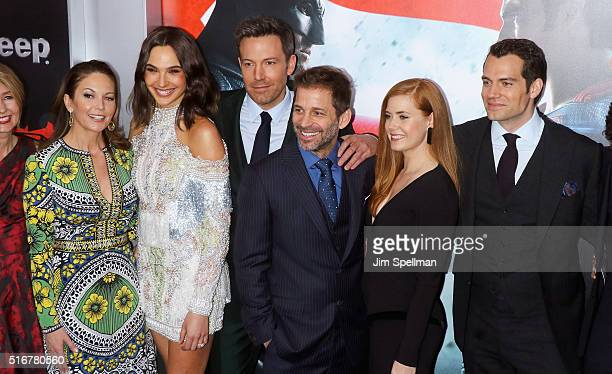 Actors Diane Lane Gal Gadot Ben Affleck director Zack Snyder actors Amy Adams and Henry Cavill attend the 'Batman V Superman Dawn Of Justice' New...
