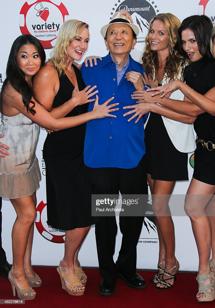 Actors Diane Yang, Vanessa Cater, <a gi-track='captionPersonalityLinkClicked' href=/galleries/search?phrase=James+Hong&family=editorial&specificpeople=2131387 ng-click='$event.stopPropagation()'>James Hong</a>, <a gi-track='captionPersonalityLinkClicked' href=/galleries/search?phrase=Ellen+Hollman&family=editorial&specificpeople=5295263 ng-click='$event.stopPropagation()'>Ellen Hollman</a> and <a gi-track='captionPersonalityLinkClicked' href=/galleries/search?phrase=Katrina+Law&family=editorial&specificpeople=4529605 ng-click='$event.stopPropagation()'>Katrina Law</a> attend the 4th annual Variety's Texas Hold 'Em poker tournament at to benefit 'The Children's Charity Of Southern California' at Paramount Studios on July 16, 2014 in Hollywood, California.