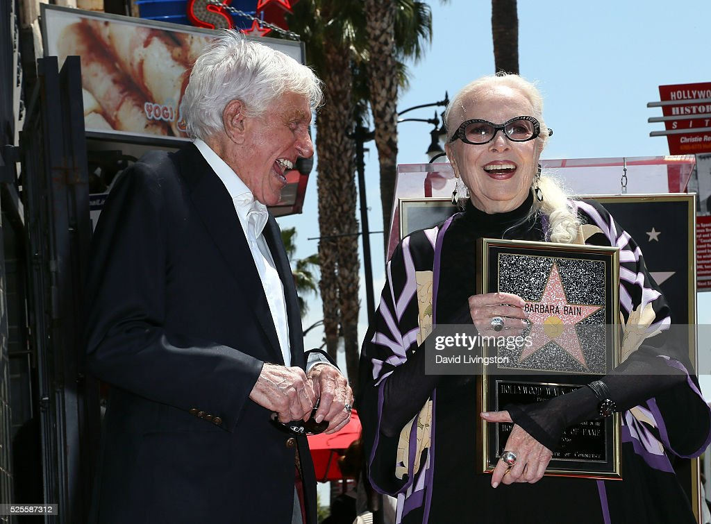 Actors Dick Van Dyke (L) and <a gi-track='captionPersonalityLinkClicked' href=/galleries/search?phrase=Barbara+Bain&family=editorial&specificpeople=540059 ng-click='$event.stopPropagation()'>Barbara Bain</a> attend <a gi-track='captionPersonalityLinkClicked' href=/galleries/search?phrase=Barbara+Bain&family=editorial&specificpeople=540059 ng-click='$event.stopPropagation()'>Barbara Bain</a> being honored with a Star on the Hollywood Walk of Fame on April 28, 2016 in Hollywood, California.