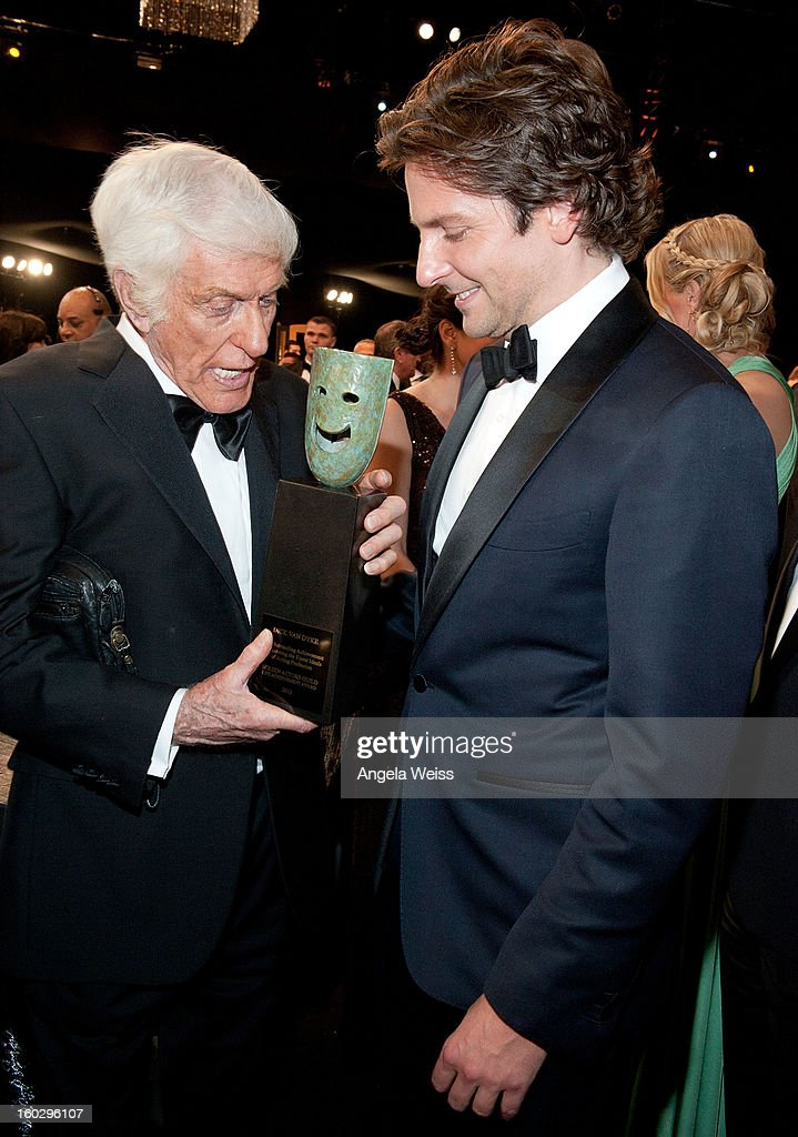 Actors Dick Van Dyke and Bradley Cooper attend the 19th Annual Screen Actors Guild Awards at The Shrine Auditorium on January 27, 2013 in Los Angeles, California.