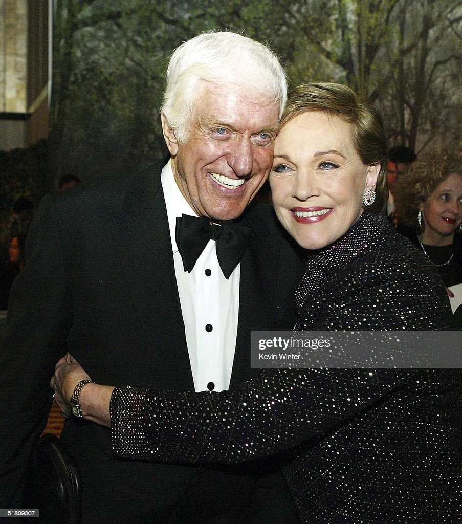 Actors Dick Van Dyke (L) and Julie Andrews pose at the after-party for Disney's 'Mary Poppins' 40th Anniversary Edition DVD Launch party and screening at Hollywood and Highland on November 30, 2004 in Los Angeles, California.