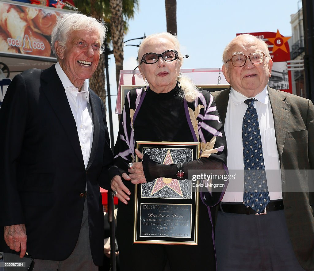 Actors Dick Van Dyke, <a gi-track='captionPersonalityLinkClicked' href=/galleries/search?phrase=Barbara+Bain&family=editorial&specificpeople=540059 ng-click='$event.stopPropagation()'>Barbara Bain</a> and <a gi-track='captionPersonalityLinkClicked' href=/galleries/search?phrase=Ed+Asner&family=editorial&specificpeople=216485 ng-click='$event.stopPropagation()'>Ed Asner</a> attend <a gi-track='captionPersonalityLinkClicked' href=/galleries/search?phrase=Barbara+Bain&family=editorial&specificpeople=540059 ng-click='$event.stopPropagation()'>Barbara Bain</a> being honored with a Star on the Hollywood Walk of Fame on April 28, 2016 in Hollywood, California.