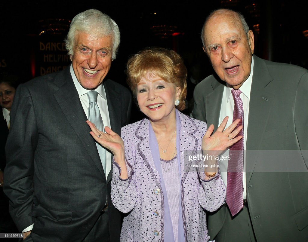 Actors Dick Van Dyke, Debbie Reynolds and Carl Reiner attend the Professional Dancers Society's Gypsy Awards Luncheon at The Beverly Hilton Hotel on March 24, 2013 in Beverly Hills, California.
