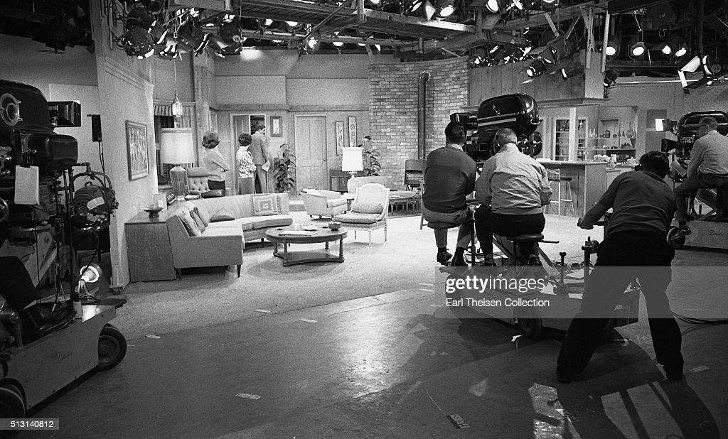 Actors Dick Van Dyke Mary Tyler Moore and Ann Morgan Guilbert in rehearsal for The Dick Van Dyke Show on December 2 1963 in Los Angeles California