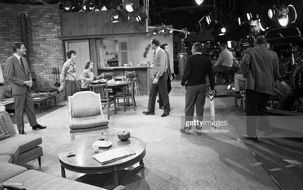 Actors Dick Van Dyke, Mary Tyler Moore and Ann Morgan Guilbert with writer, producer, director and actor Carl Reiner in rehearsal for The Dick Van Dyke Show on December 2, 1963 in Los Angeles, California.