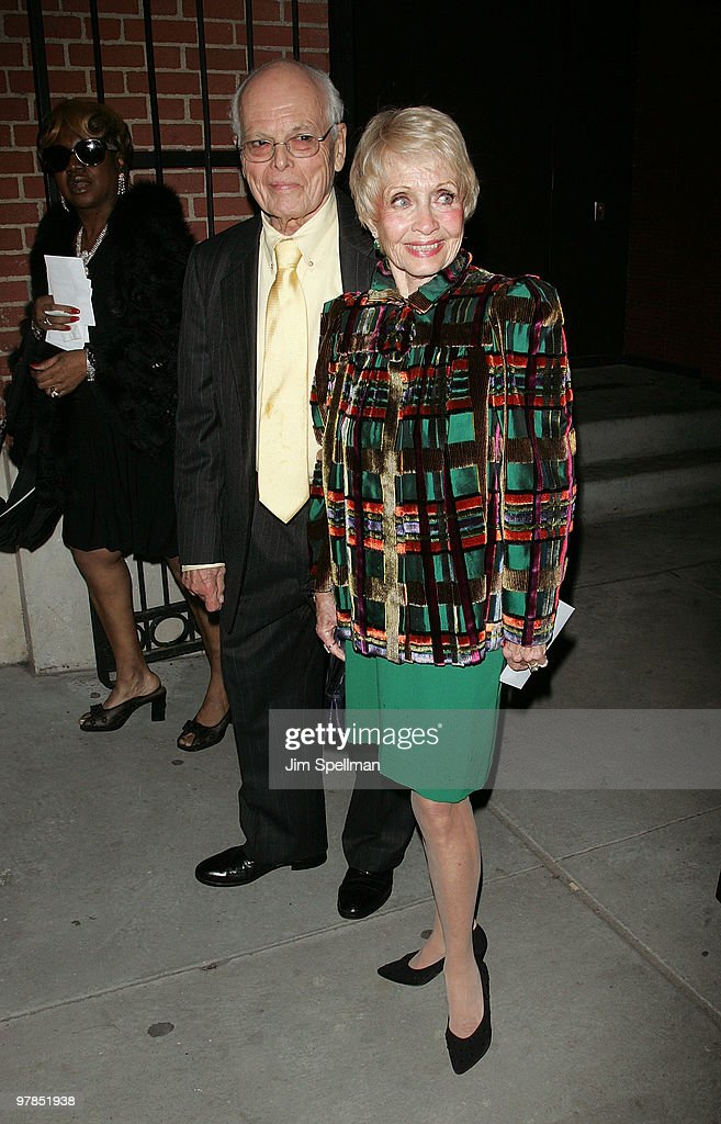 Actors Dickie Moore and Jane Powell attend the opening night of 'All About Me' on Broadway at Henry Miller's Theatre on March 18 2010 in New York City