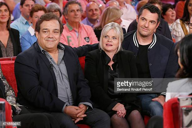 Actors Didier Bourdon Isabelle Nanty and Arnaud Ducret present the movie 'Prof 2' during the 'Vivement Dimanche' French TV Show at Pavillon Gabriel...