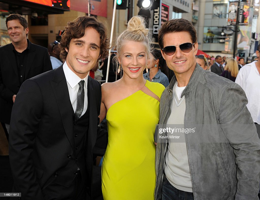 Actors <a gi-track='captionPersonalityLinkClicked' href=/galleries/search?phrase=Diego+Boneta&family=editorial&specificpeople=6787641 ng-click='$event.stopPropagation()'>Diego Boneta</a>, <a gi-track='captionPersonalityLinkClicked' href=/galleries/search?phrase=Julianne+Hough&family=editorial&specificpeople=4237560 ng-click='$event.stopPropagation()'>Julianne Hough</a> and <a gi-track='captionPersonalityLinkClicked' href=/galleries/search?phrase=Tom+Cruise&family=editorial&specificpeople=156405 ng-click='$event.stopPropagation()'>Tom Cruise</a> arrive at the premiere of Warner Bros. Pictures' 'Rock of Ages' at Grauman's Chinese Theatre on June 8, 2012 in Hollywood, California.