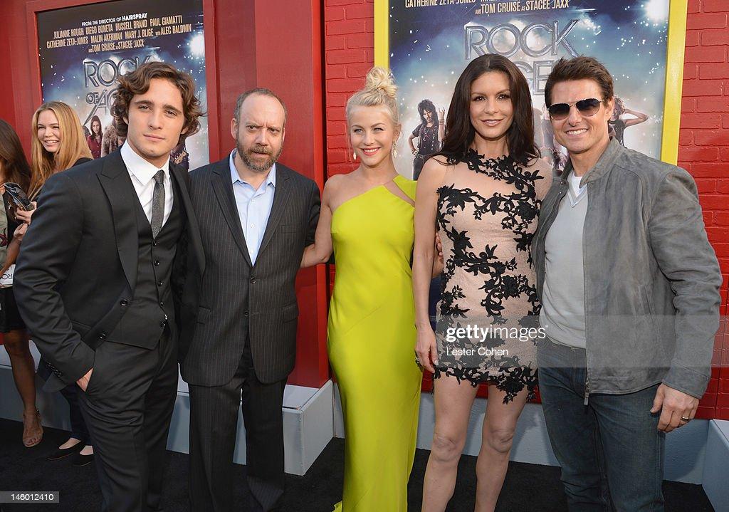 Actors Diego Boneta Paul Giamatti Julianne Hough Catherine ZetaJones and Tom Cruise arrive at the 'Rock of Ages' Los Angeles premiere held at...