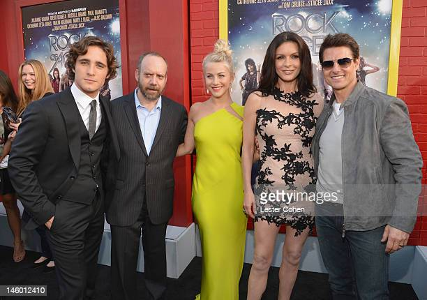 Actors Diego Boneta Paul Giamatti Julianne Hough Catherine ZetaJones and Tom Cruise arrive at the 'Rock of Ages' Los Angeles premiere held at...