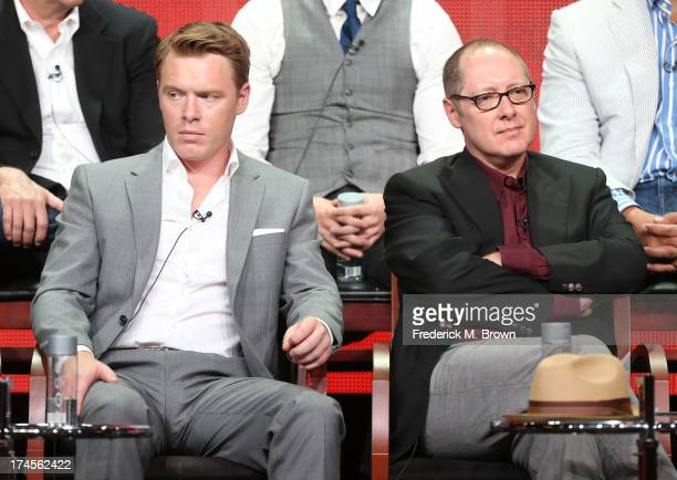 Actors Diego Klattenhoff and James Spader speak onstage during 'The Blacklist' panel discussion at the NBC portion of the 2013 Summer Television...