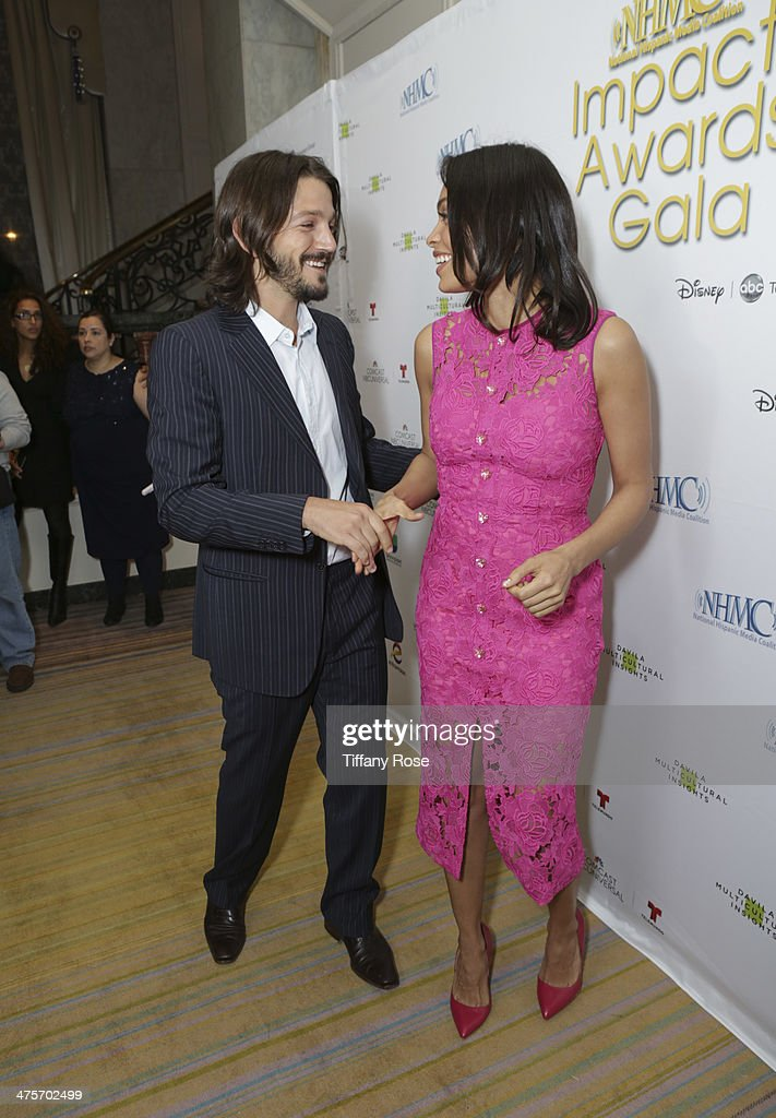 Actors Diego Luna and Rosario Dawson attend Moet At The 17th Annual National Hispanic Media Coalition Impact Awards at the Beverly Wilshire Four Seasons Hotel on February 28, 2014 in Beverly Hills, California.