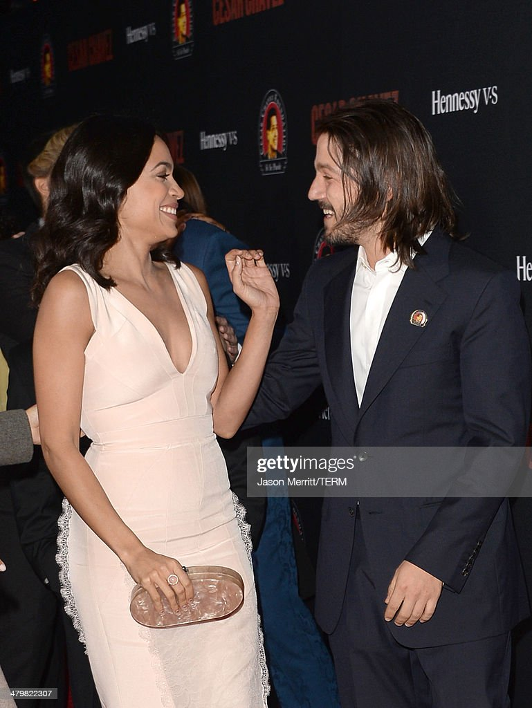 Actors Diego Luna and Rosario Dawson attend the premiere of Pantelion Films and Participant Media's 'Cesar Chavez' - Arrivals at TCL Chinese Theatre on March 20, 2014 in Hollywood, California.