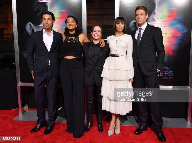 Actors Diego Luna Kiersey Clemons Ellen Page Nina Dobrev and James Norton arrive at the premiere of 'Flatliners' at The Theatre at Ace Hotel on...