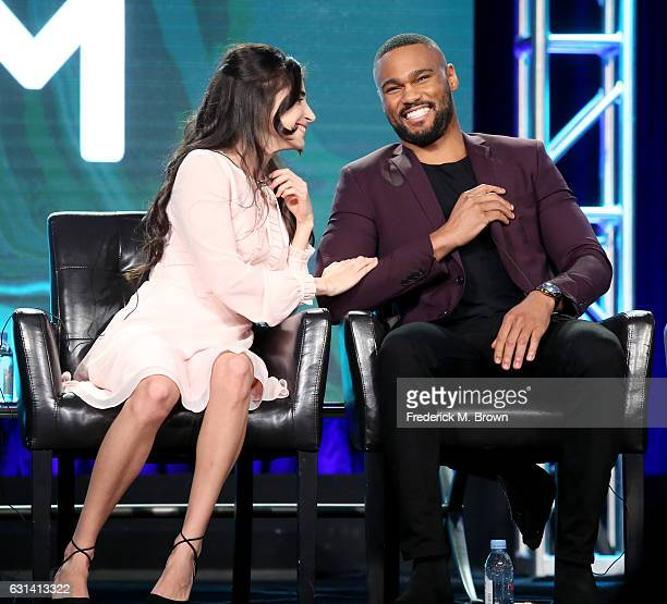 Actors Dilan Gwyn and Jeff Pierre of the television show 'Beyond' speak onstage during the DisneyABC portion of the 2017 Winter Television Critics...