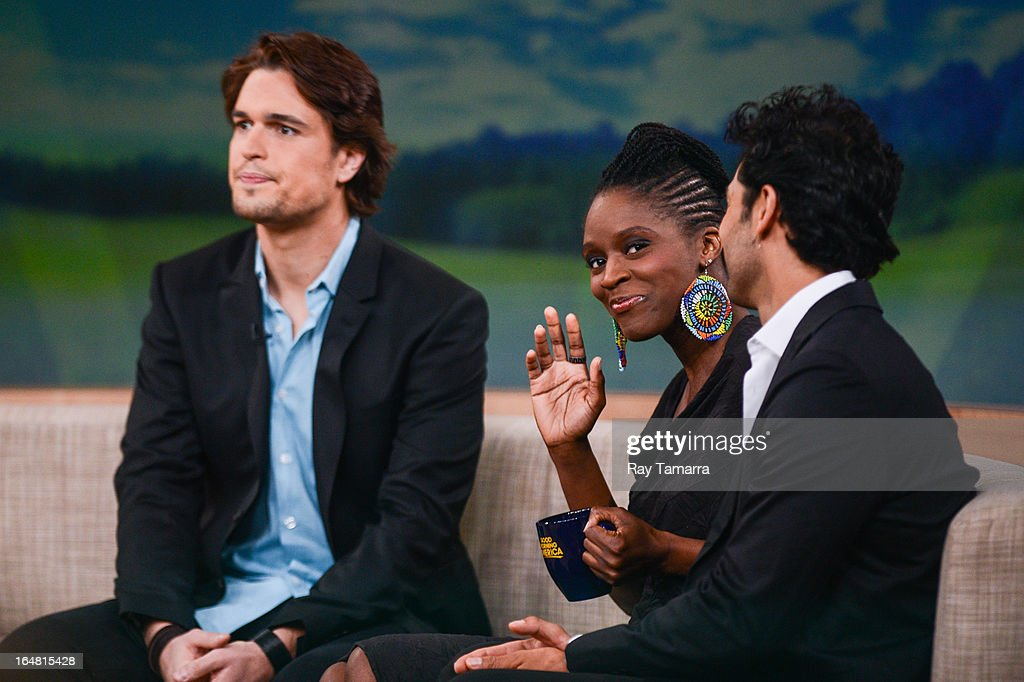Actors Diogo Morgado Sharon Duncan Brewster and Darwin Shaw tape an interview at 'Good Morning America' at the ABC Times Square Studios on March 28...