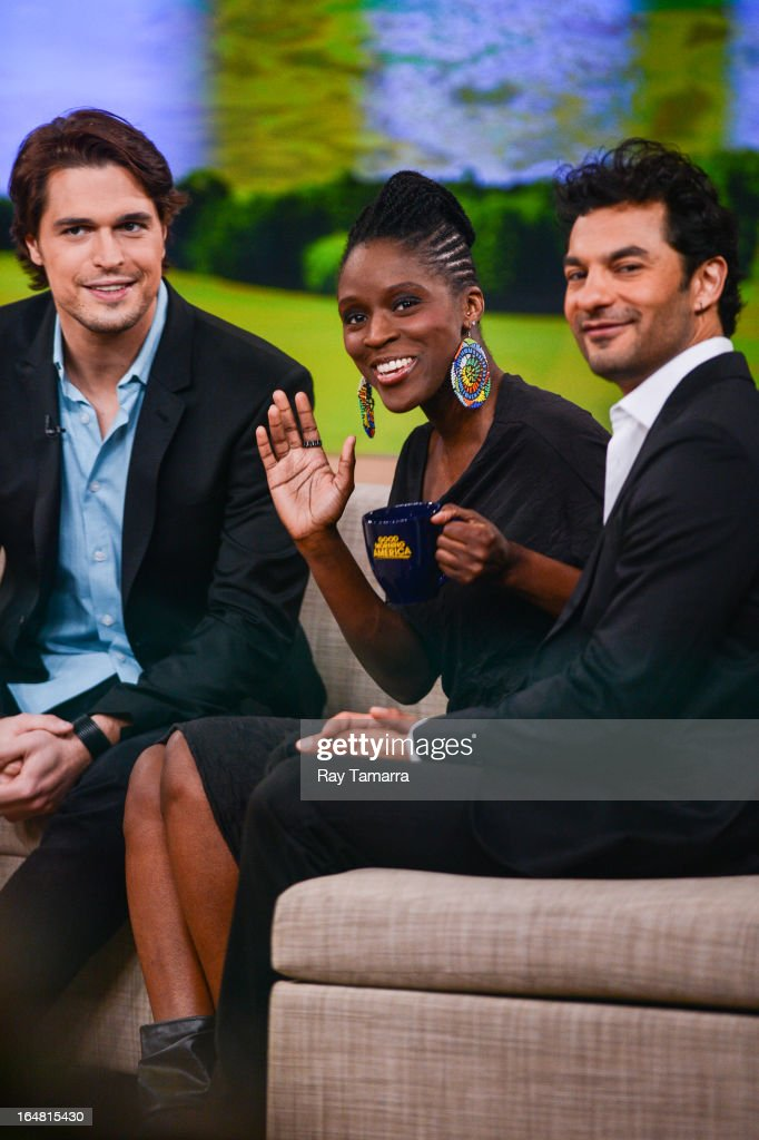 Actors Diogo Morgado, Sharon Duncan Brewster, and Darwin Shaw tape an interview at 'Good Morning America' at the ABC Times Square Studios on March 28, 2013 in New York City.