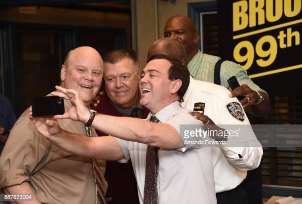 Actors Dirk Blocker Joel McKinnon Miller Joe Lo Truglio Andre Braugher and Terry Crews attend Fox's 'Brooklyn NineNine' 99th Episode celebration at...