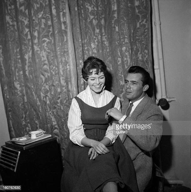 Actors Dirk Bogarde and Brigitte Bardot during the shooting of movie 'Doctor At Sea' directed by Ralph Thomas 1954 in United Kingdom