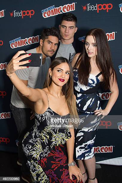 Actors DJ Cotrona Eiza Gonzalez Zane Holtz Madison Davenport and Jesse Garcia pose in the press room for Marvel's 'From Dusk till Dawn The Series'...