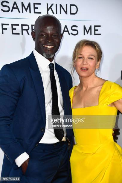actors Djimon Hounsou and Renee Zellweger attend the Premiere Of Paramount Pictures And Pure Flix Entertainment's 'Same Kind Of Different As Me' at...