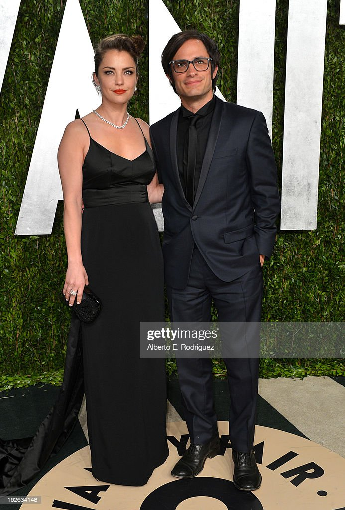 Actors Dolores Fonzi and Gael Garcia Bernal arrive at the 2013 Vanity Fair Oscar Party hosted by Graydon Carter at Sunset Tower on February 24, 2013 in West Hollywood, California.