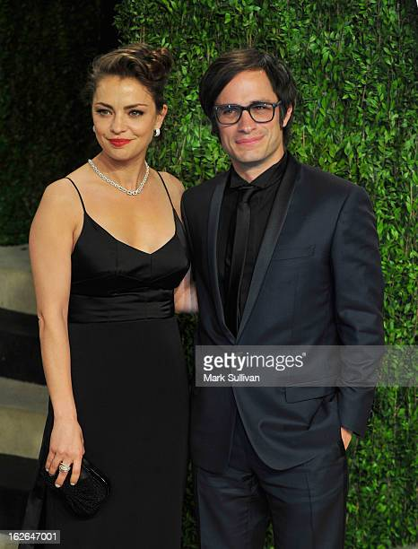 Actors Dolores Fonzi and Gael Garcia Bernal arrive at the 2013 Vanity Fair Oscar Party at Sunset Tower on February 24 2013 in West Hollywood...