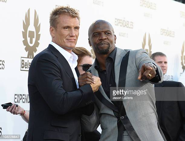 Actors Dolph Lundgren and Terry Crews attend the premiere of 'The Expendables' at Grauman's Chinese Theatre on August 3 2010 in Hollywood California