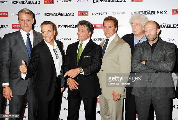 Actors Dolph Lundgren JeanClaude Van Damme Sylvester Stallone Arnold Schwarzenegger producer Avi Lerner and Jason Statham attend the UK Film Premiere...