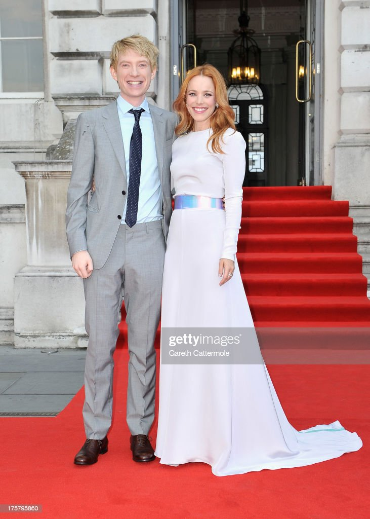Actors Domhnall Gleeson and Rachel McAdams attend the 'About Time' world premiere at Somerset House on August 8, 2013 in London, England.