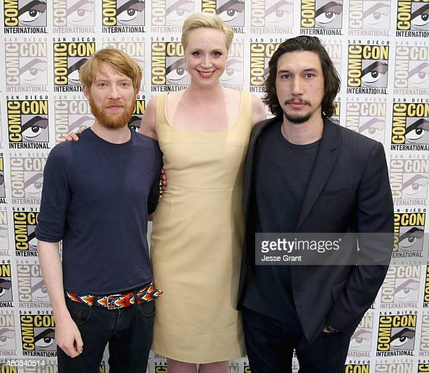 "Actors Domhnall Gleeson Gwendoline Christie and Adam Driver at the Hall H Panel for ""Star Wars The Force Awakens"" during ComicCon International 2015..."