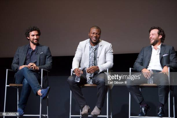Actors Dominic Adams Edwin Hodge and Kyle Schmid speak onstage at the FYC Event for HISTORY's 'SIX' at Wolf Theatre on May 9 2017 in North Hollywood...