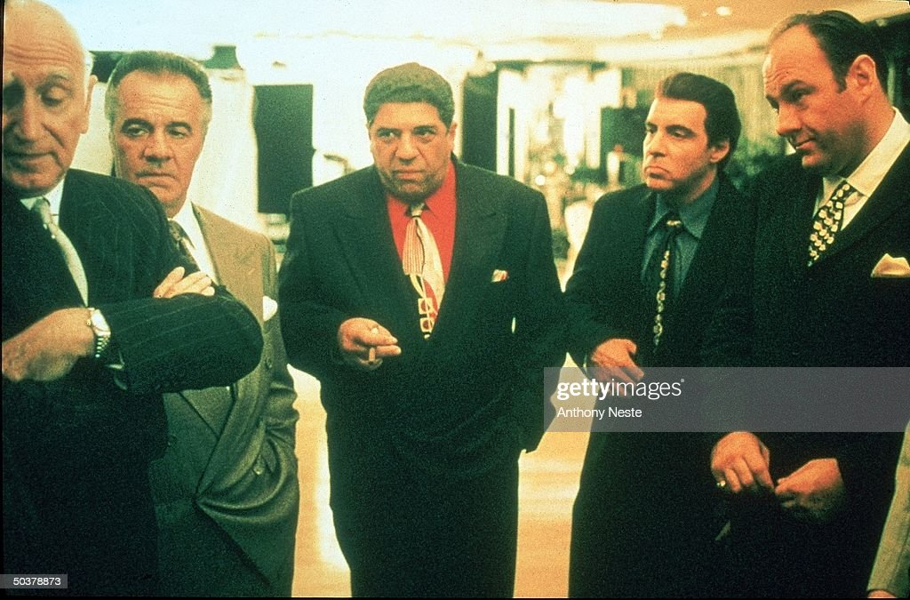 Actors Dominic Chianese Tony Sirico Vincent Pastore Steve Van Zandt James Gandolfini in scene from HBO TV drama series The Sopranos